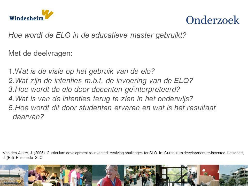Onderzoek Hoe wordt de ELO in de educatieve master gebruikt