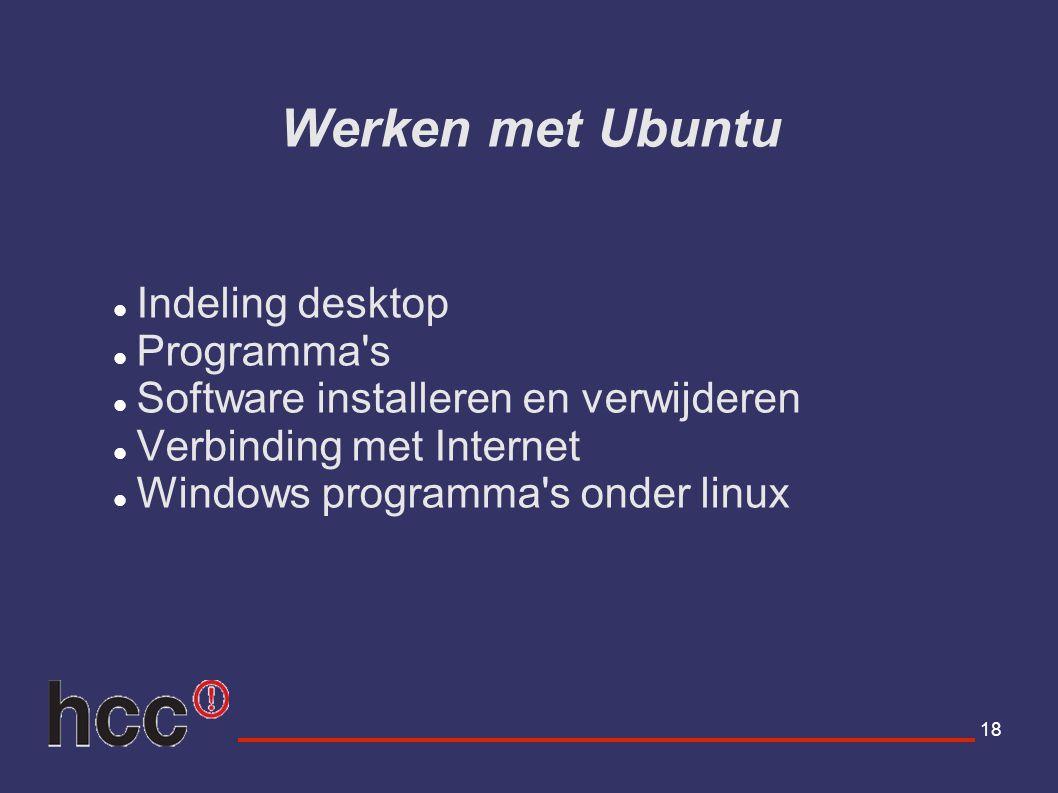 Werken met Ubuntu Indeling desktop Programma s