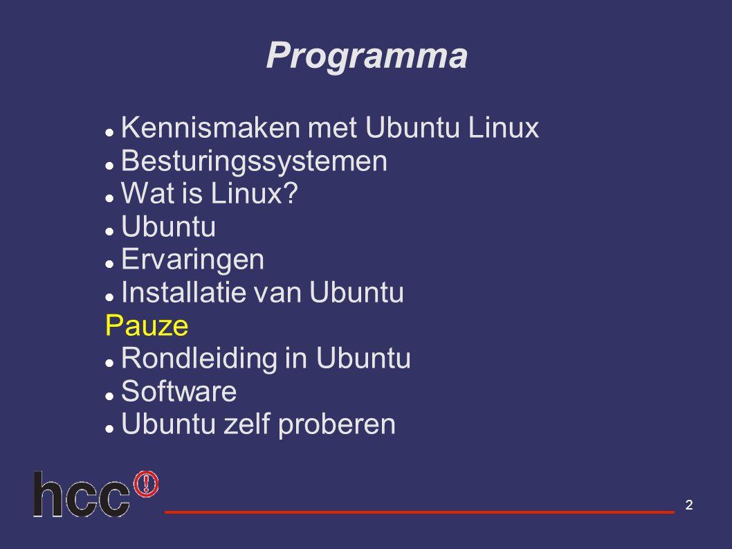 Programma Kennismaken met Ubuntu Linux Besturingssystemen