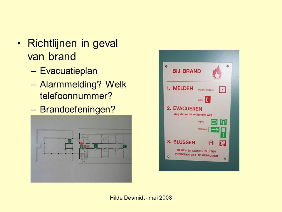 Richtlijnen in geval van brand