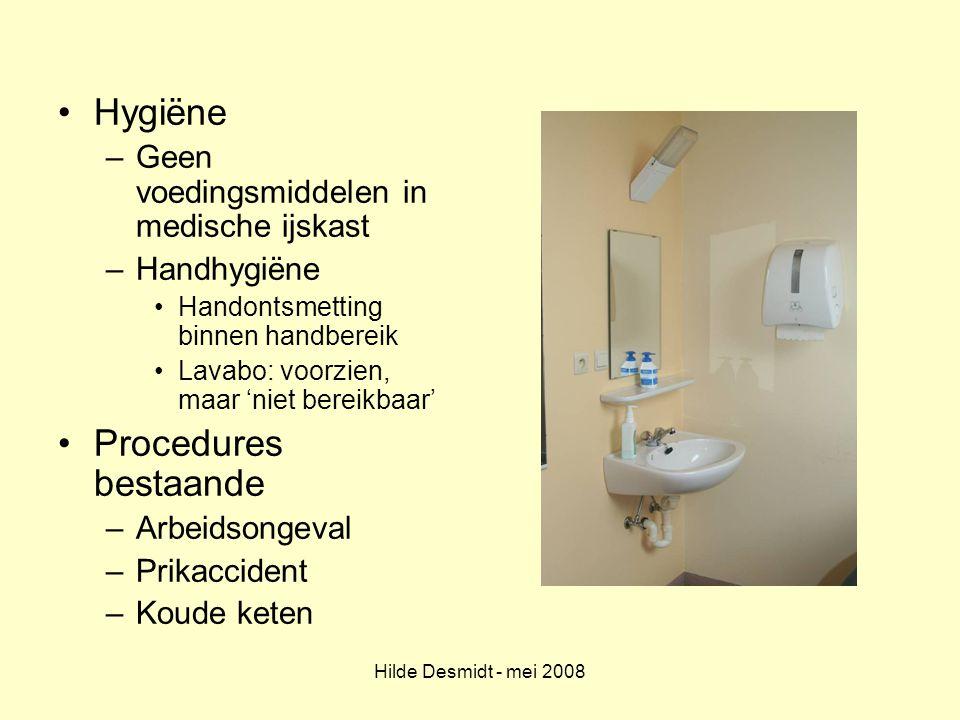 Hygiëne Procedures bestaande Geen voedingsmiddelen in medische ijskast
