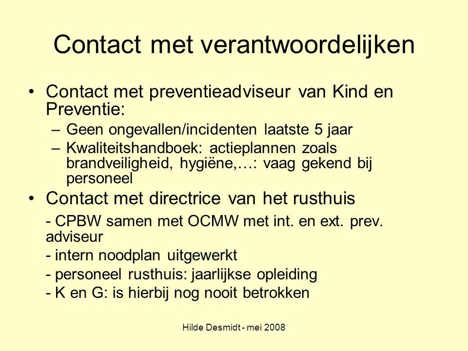 Contact met verantwoordelijken