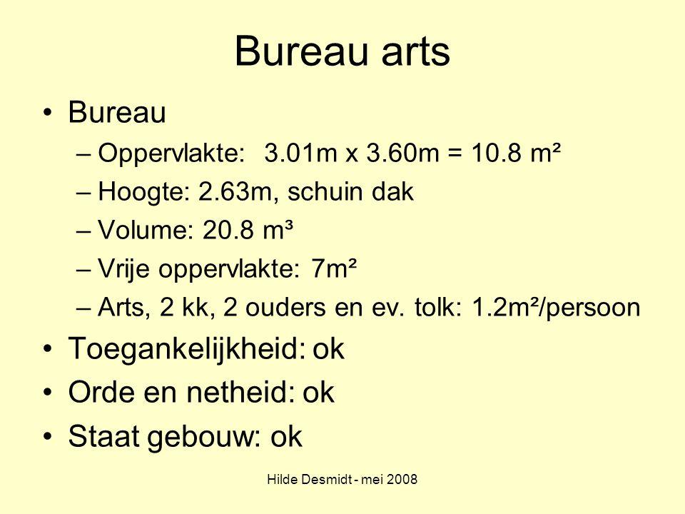 Bureau arts Bureau Toegankelijkheid: ok Orde en netheid: ok