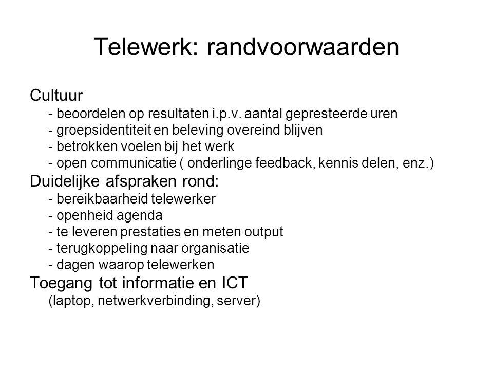 Telewerk: randvoorwaarden