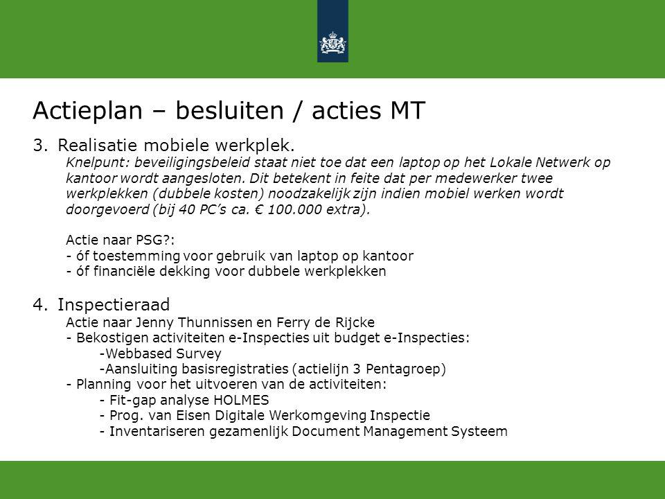 Actieplan – besluiten / acties MT