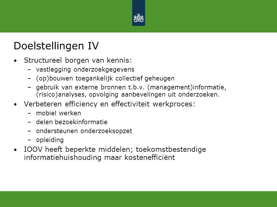 Doelstellingen IV Structureel borgen van kennis: