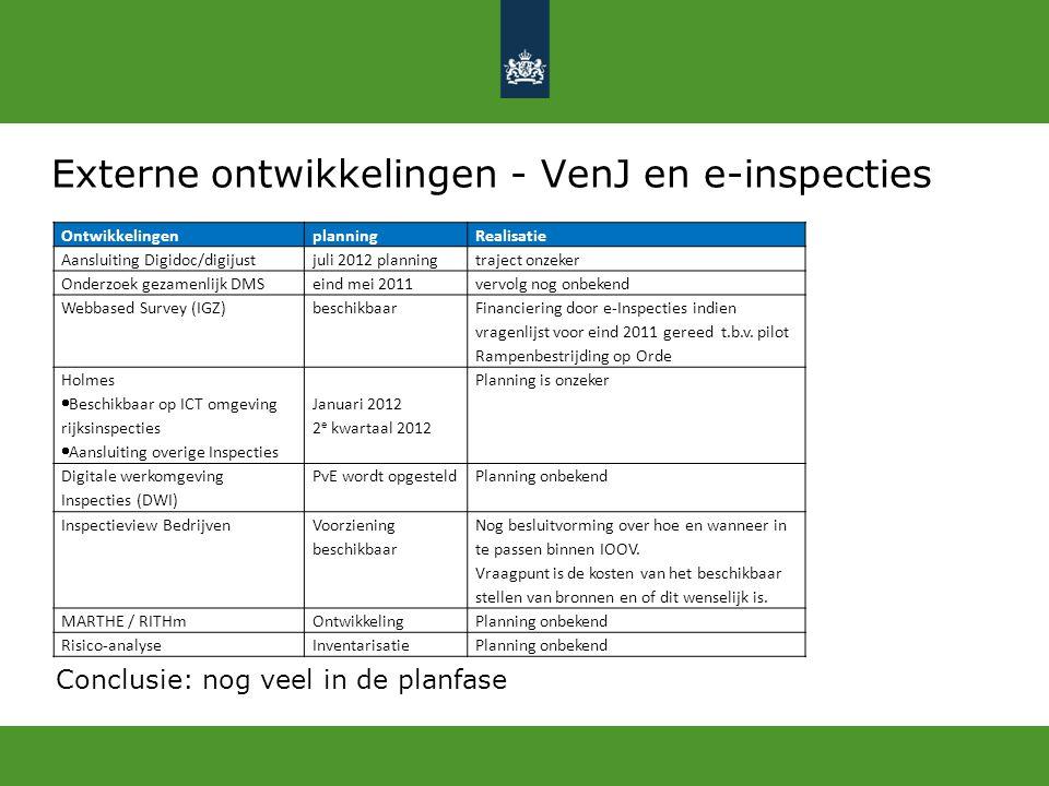 Externe ontwikkelingen - VenJ en e-inspecties