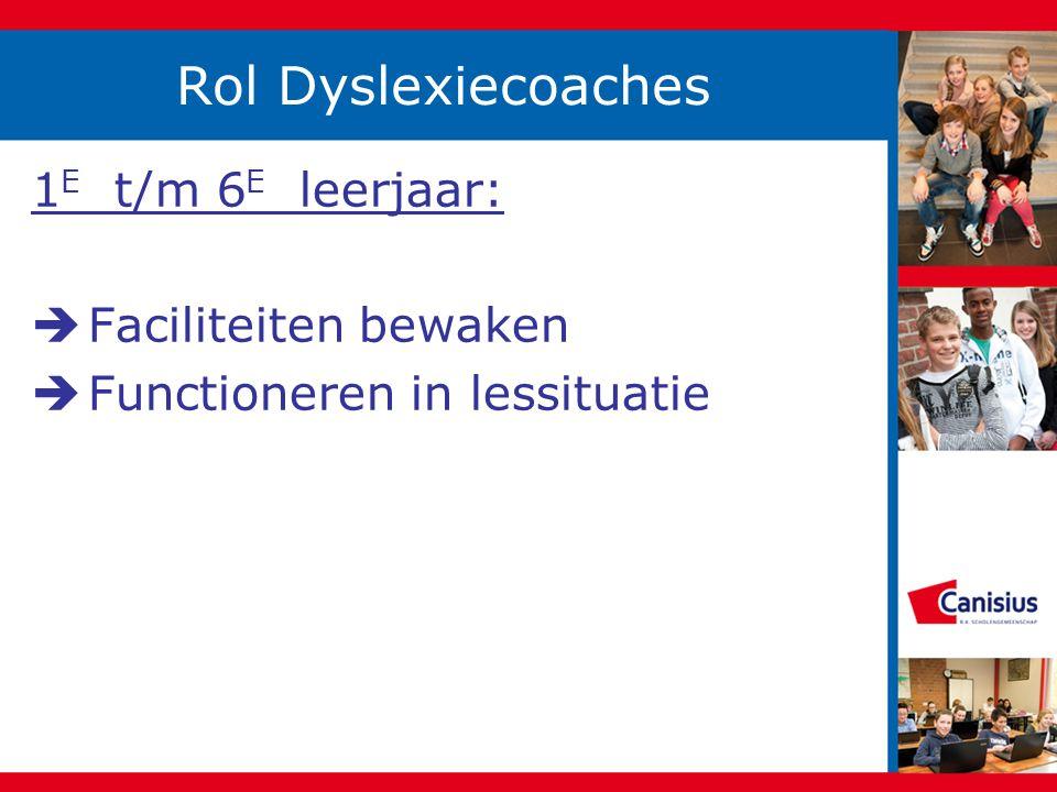 Rol Dyslexiecoaches 1E t/m 6E leerjaar: Faciliteiten bewaken
