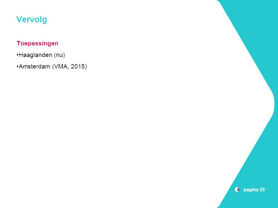 Vervolg Toepassingen Haaglanden (nu) Amsterdam (VMA, 2015)