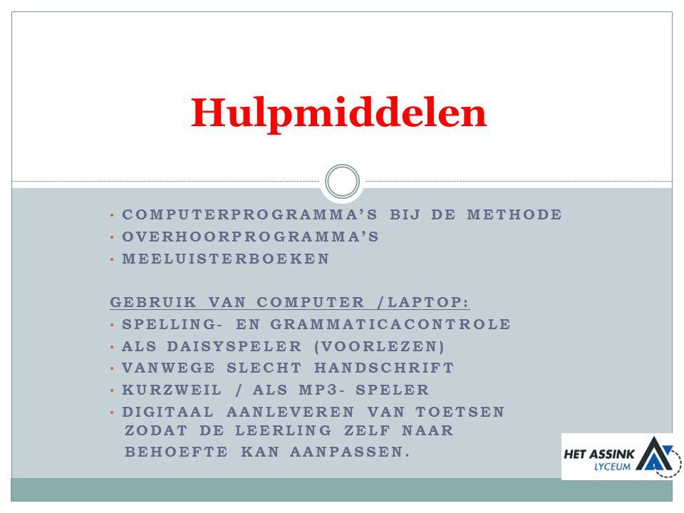 Hulpmiddelen Computerprogramma's bij de methode overhoorprogramma's