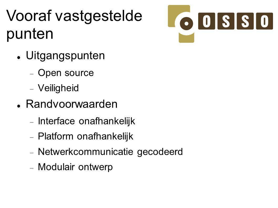 Vooraf vastgestelde punten Uitgangspunten Randvoorwaarden Open source