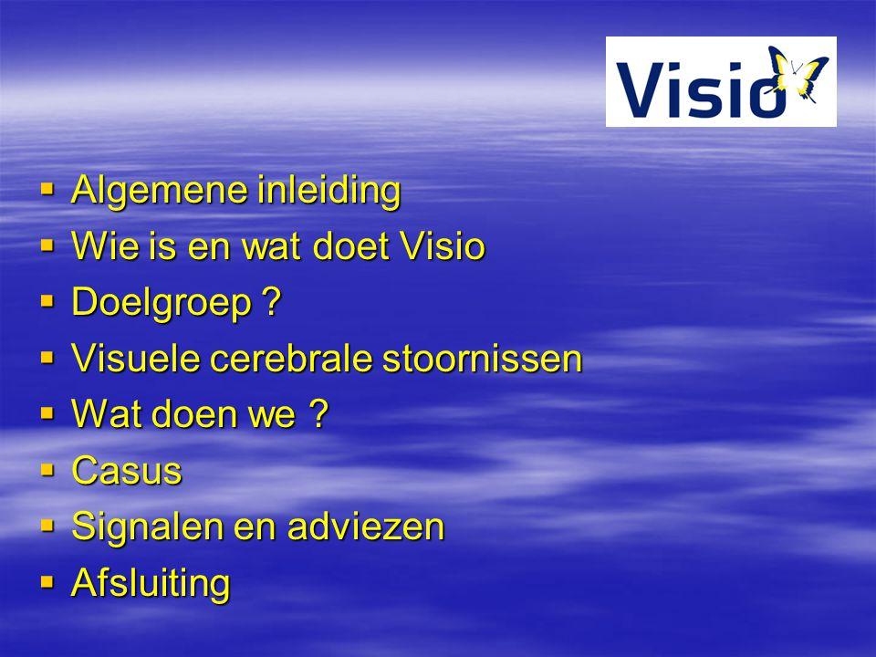 Algemene inleiding Wie is en wat doet Visio. Doelgroep Visuele cerebrale stoornissen. Wat doen we