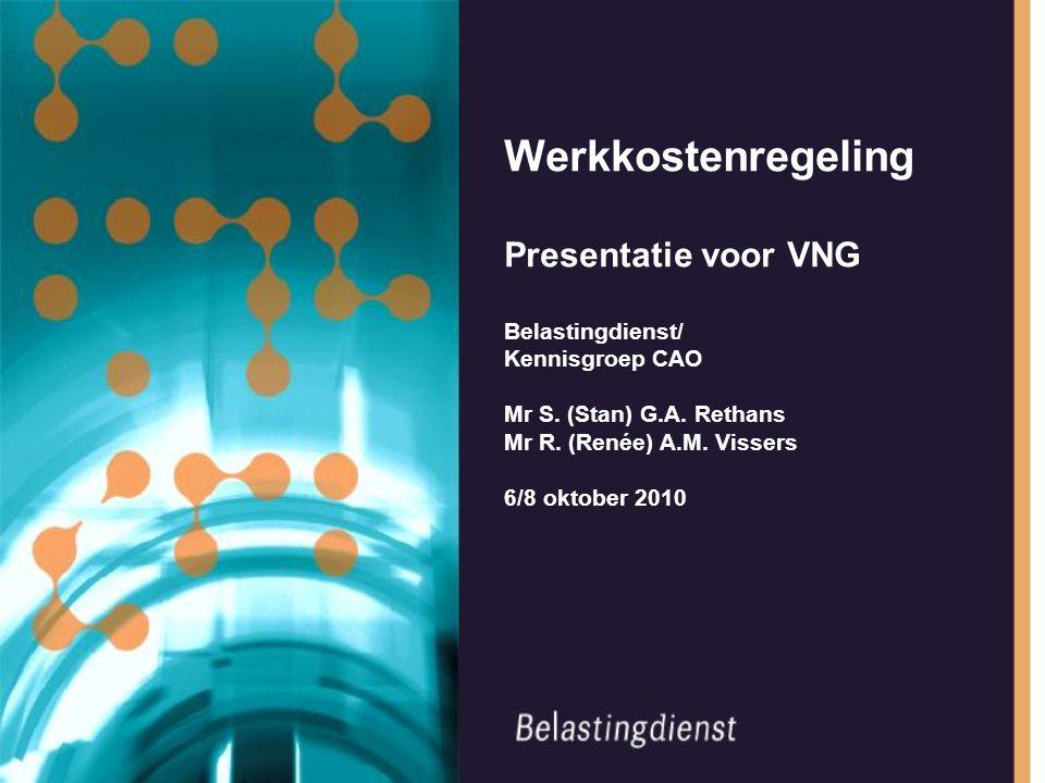 Werkkostenregeling Presentatie voor VNG