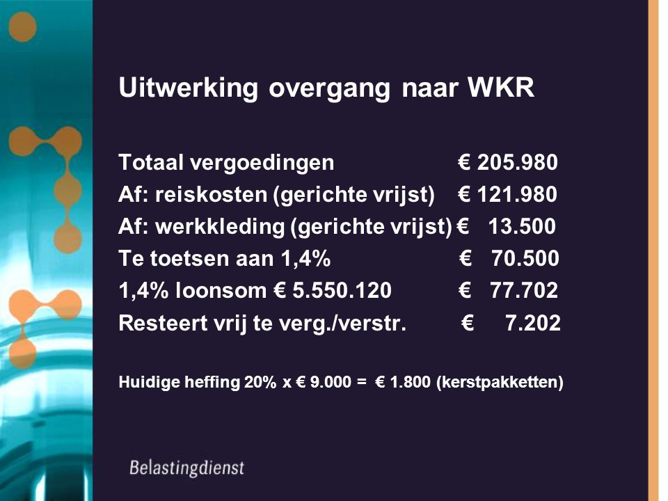 Uitwerking overgang naar WKR