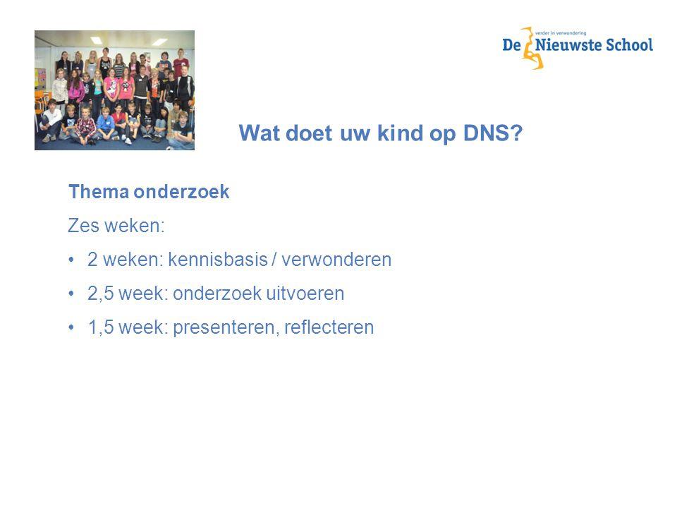 Wat doet uw kind op DNS Thema onderzoek Zes weken: