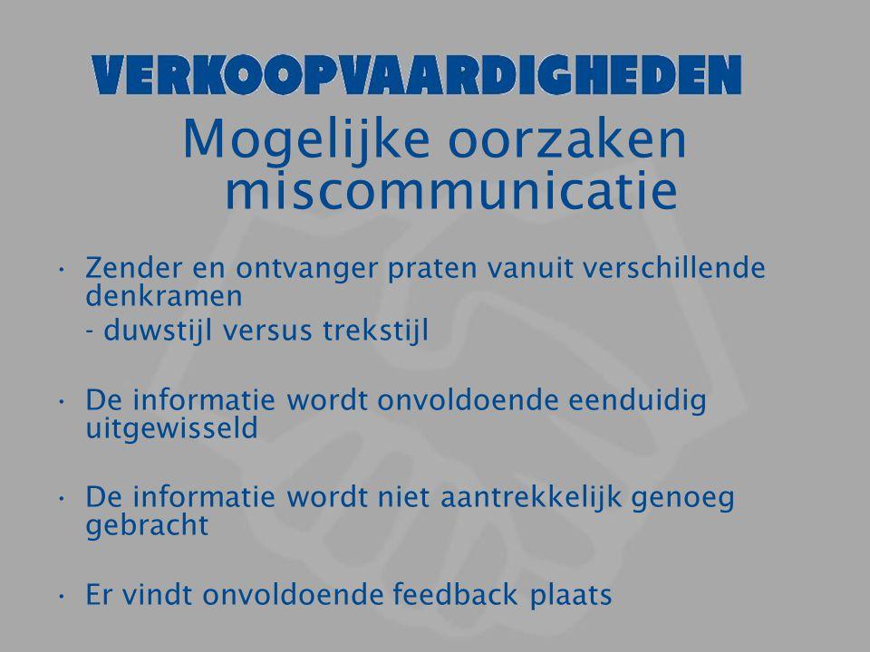 Mogelijke oorzaken miscommunicatie