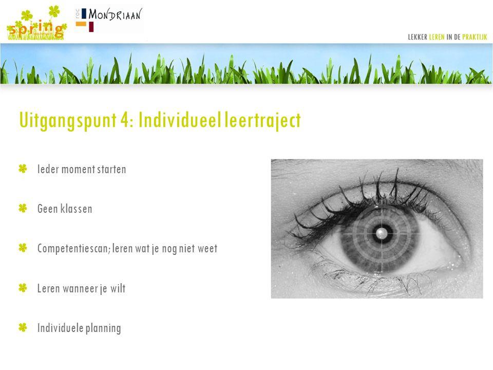 Uitgangspunt 4: Individueel leertraject