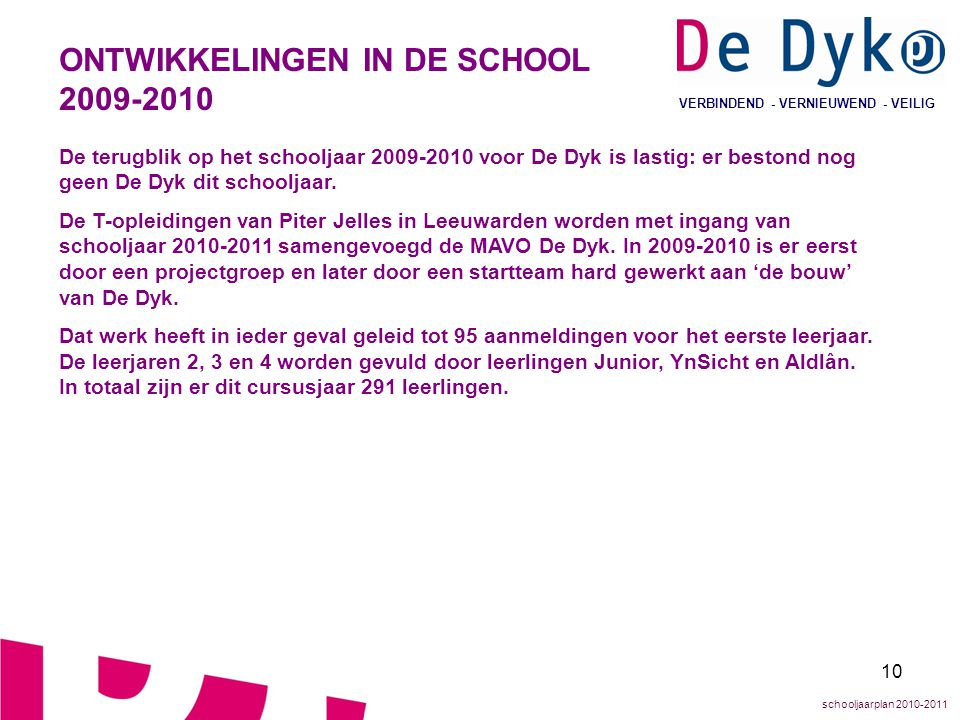 ONTWIKKELINGEN IN DE SCHOOL 2009-2010