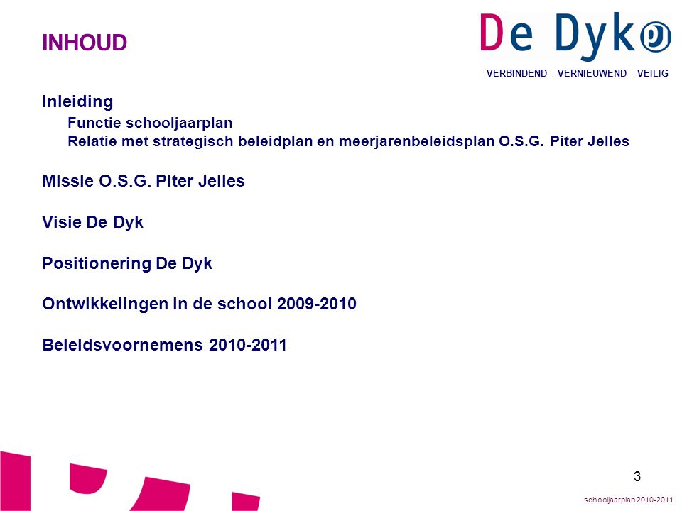 INHOUD Inleiding Functie schooljaarplan Missie O.S.G. Piter Jelles