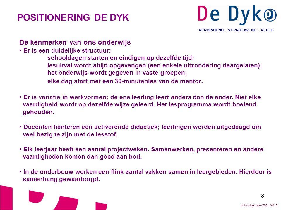 POSITIONERING DE DYK De kenmerken van ons onderwijs