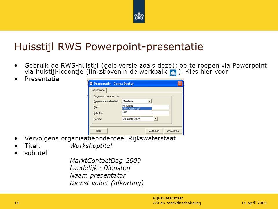 Huisstijl RWS Powerpoint-presentatie
