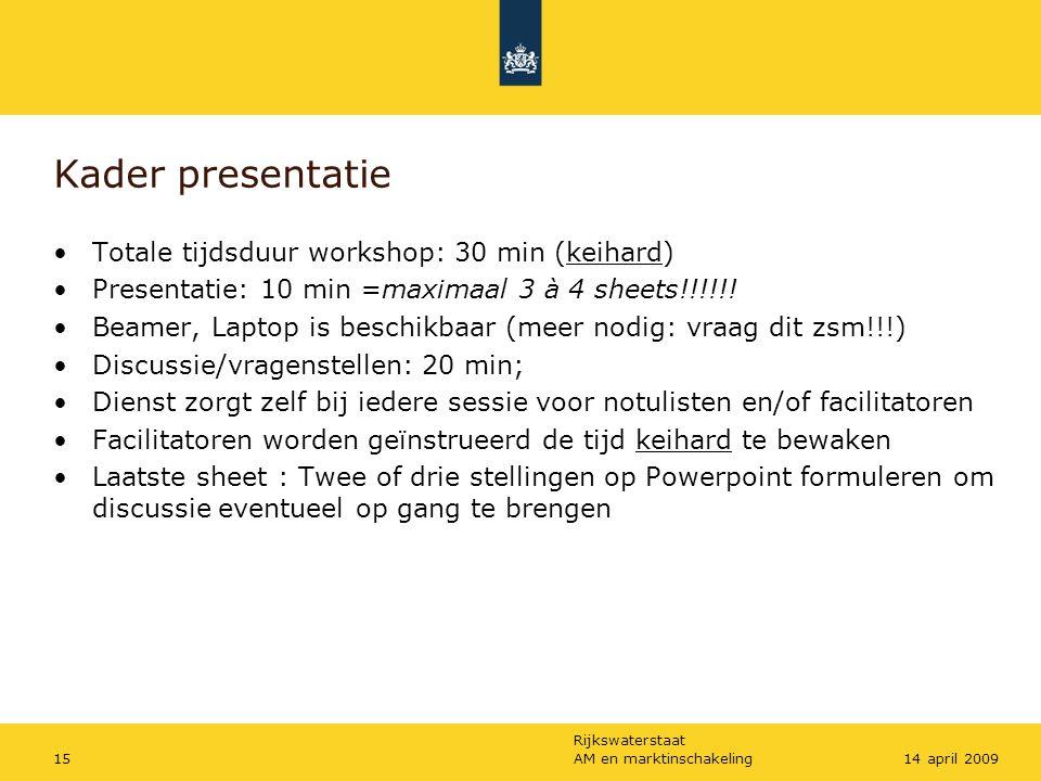 Kader presentatie Totale tijdsduur workshop: 30 min (keihard)