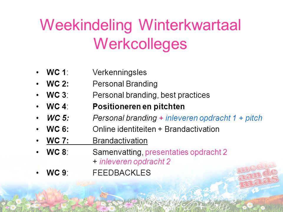 Weekindeling Winterkwartaal Werkcolleges