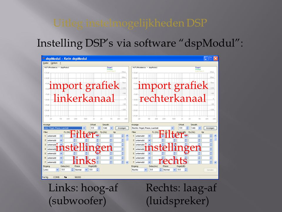 Uitleg instelmogelijkheden DSP