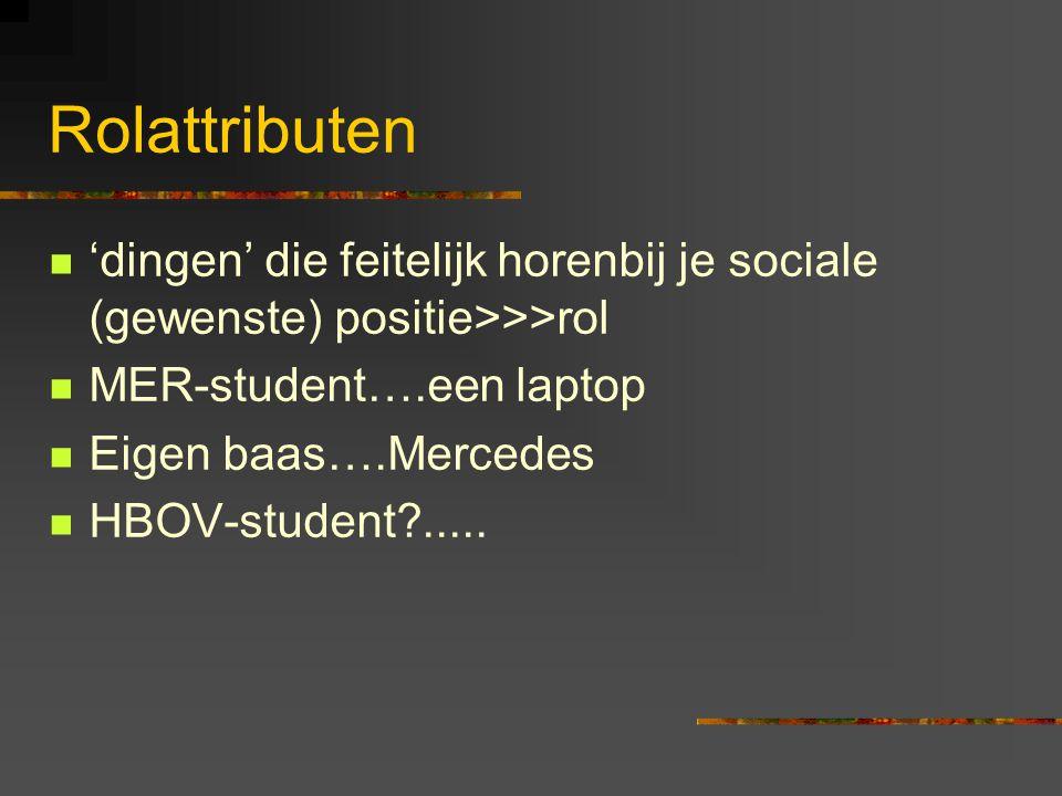 Rolattributen 'dingen' die feitelijk horenbij je sociale (gewenste) positie>>>rol. MER-student….een laptop.
