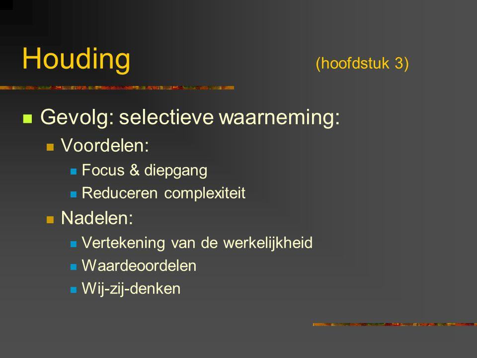 Houding (hoofdstuk 3) Gevolg: selectieve waarneming: Voordelen: