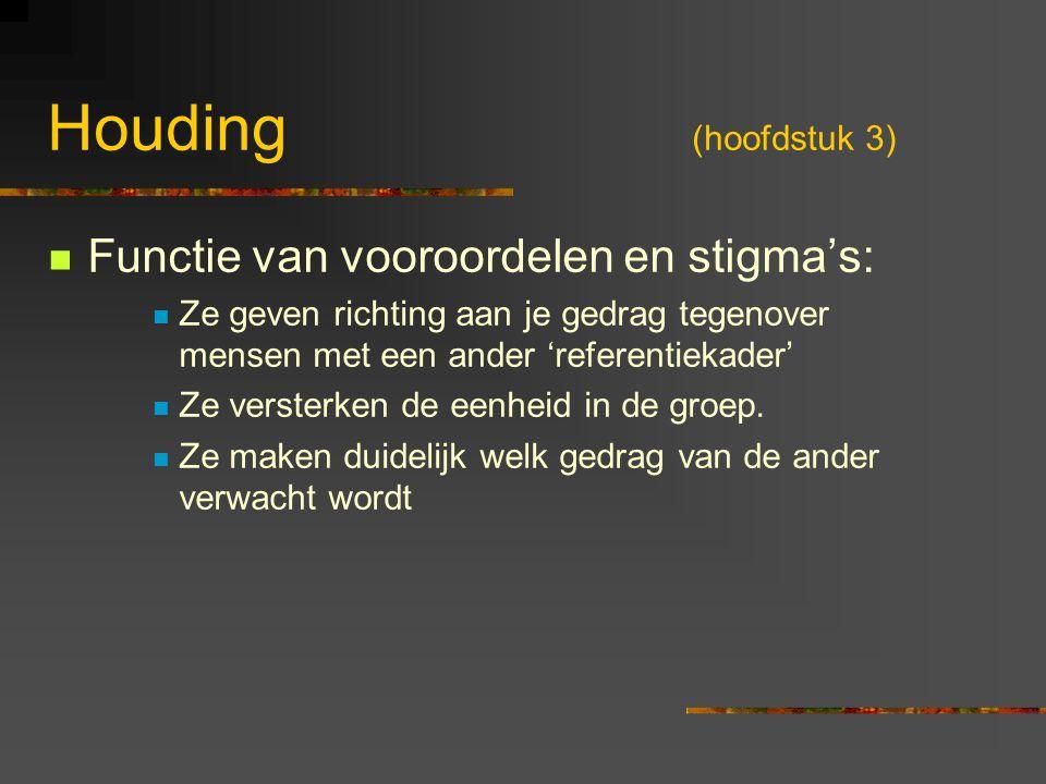 Houding (hoofdstuk 3) Functie van vooroordelen en stigma's: