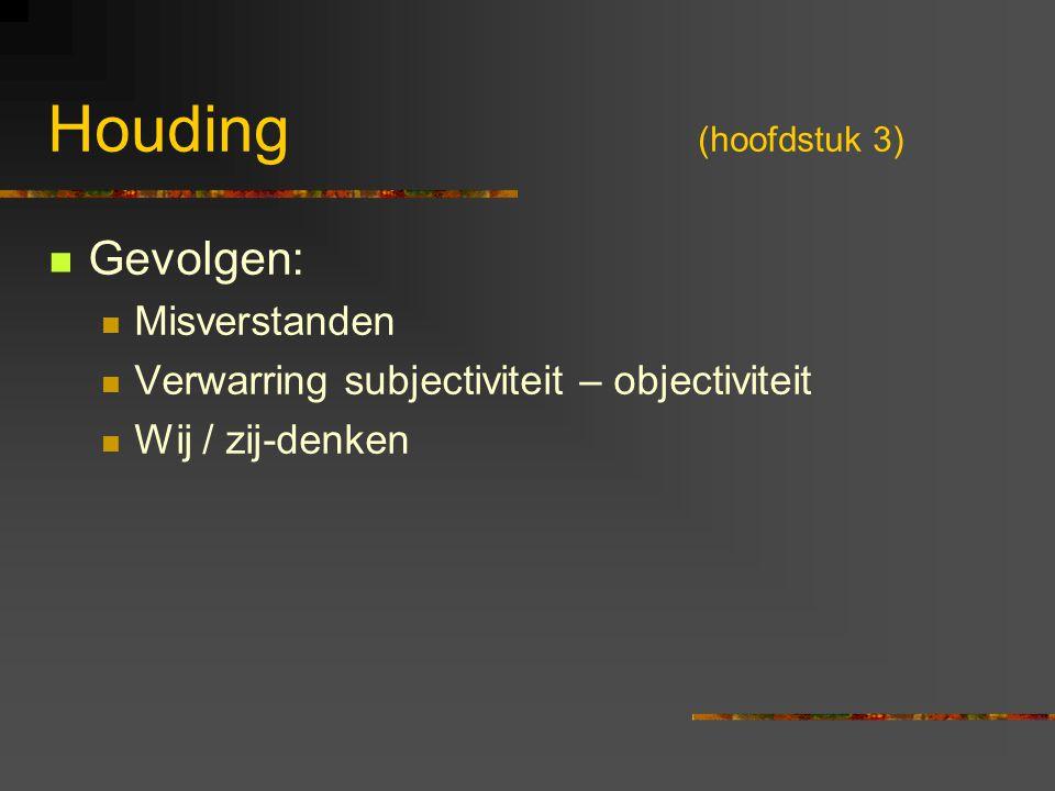 Houding (hoofdstuk 3) Gevolgen: Misverstanden
