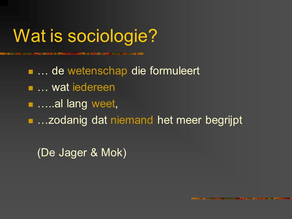 Wat is sociologie … de wetenschap die formuleert … wat iedereen