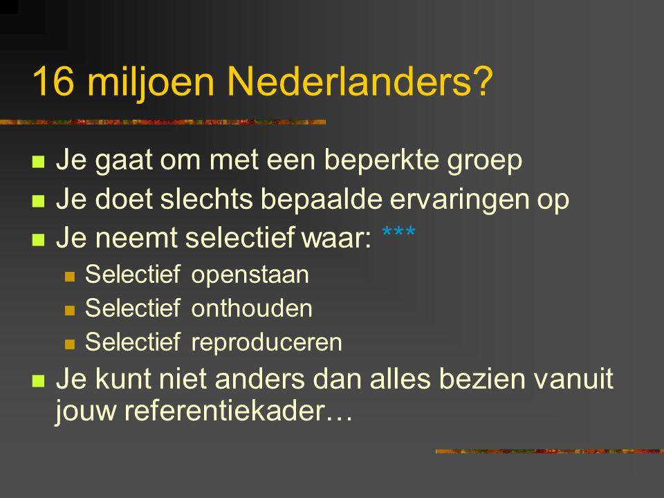 16 miljoen Nederlanders Je gaat om met een beperkte groep
