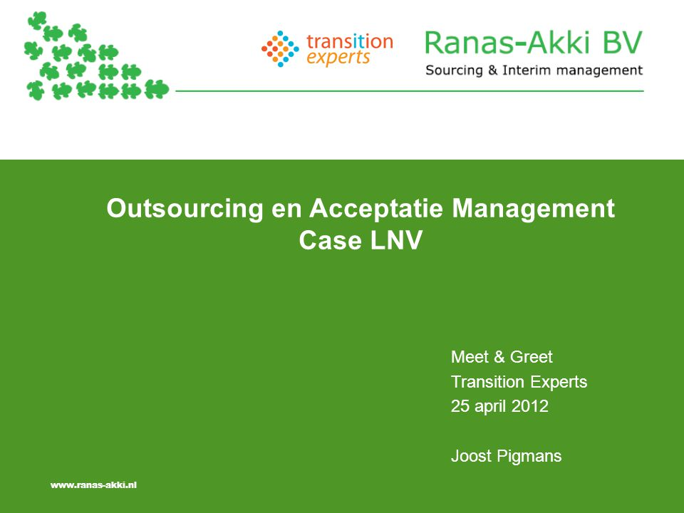 Outsourcing en Acceptatie Management Case LNV