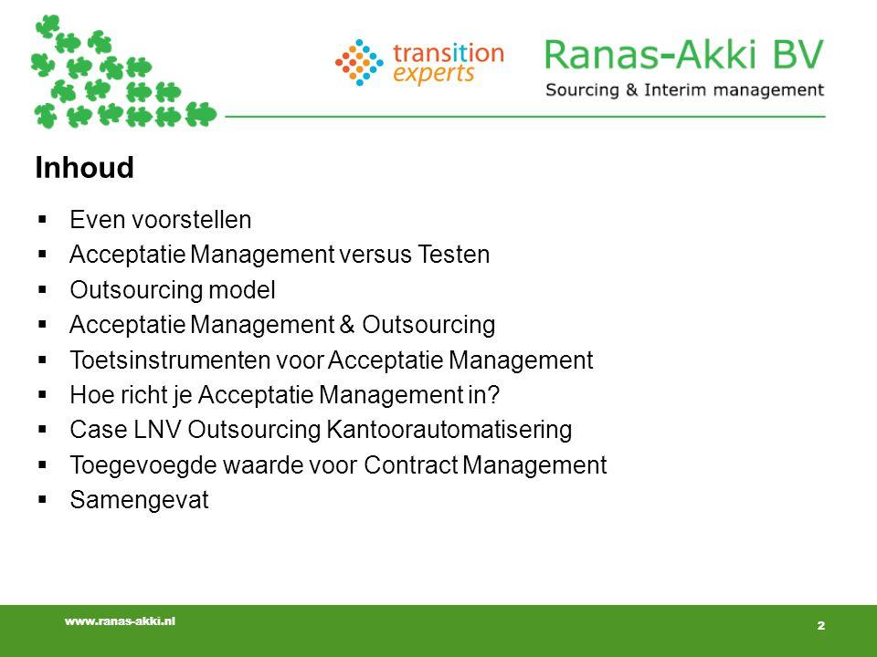 Inhoud Even voorstellen Acceptatie Management versus Testen