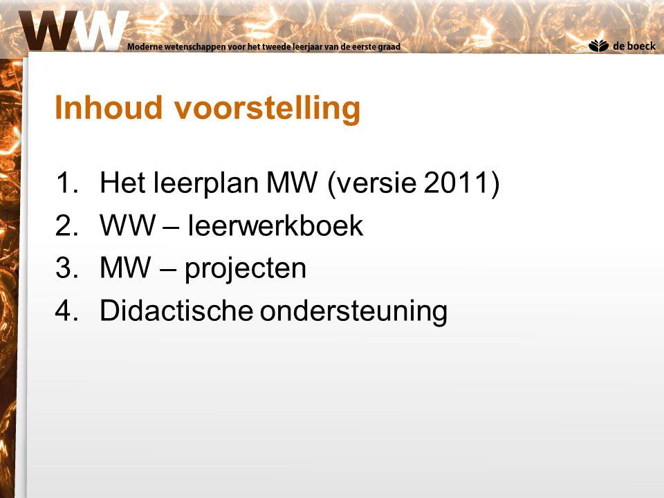 Inhoud voorstelling Het leerplan MW (versie 2011) WW – leerwerkboek