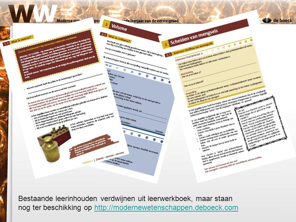 Bestaande leerinhouden verdwijnen uit leerwerkboek, maar staan nog ter beschikking op http://modernewetenschappen.deboeck.com