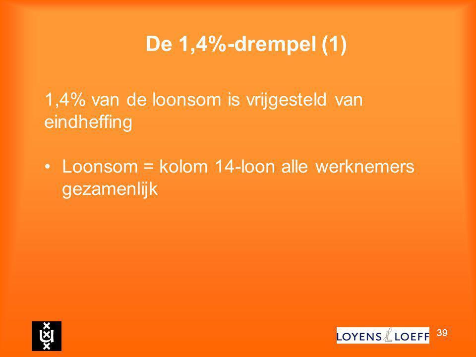 De 1,4%-drempel (1) 1,4% van de loonsom is vrijgesteld van eindheffing
