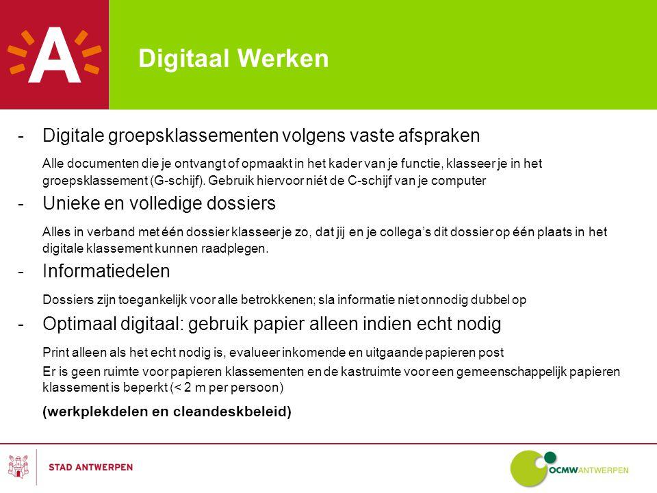 Digitaal Werken Digitale groepsklassementen volgens vaste afspraken