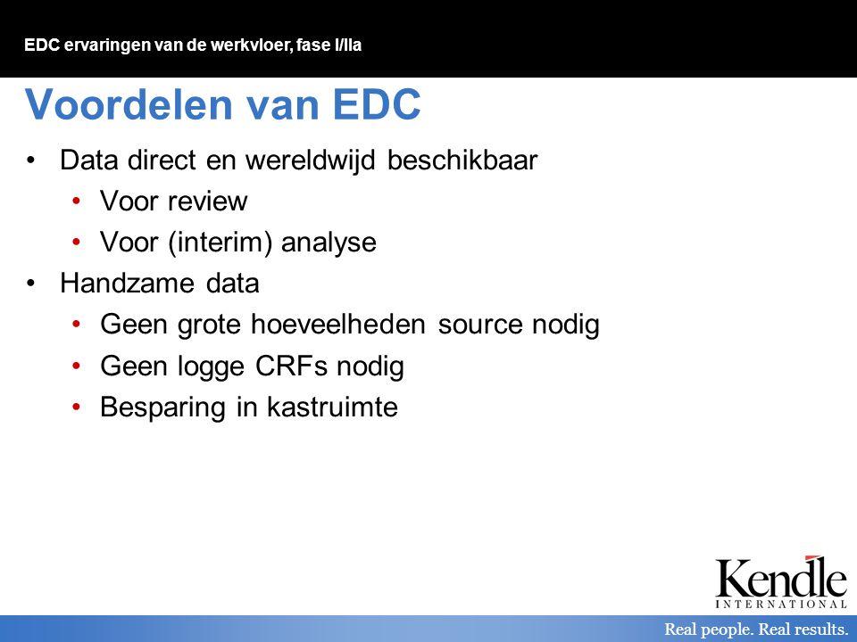 Voordelen van EDC Data direct en wereldwijd beschikbaar Voor review
