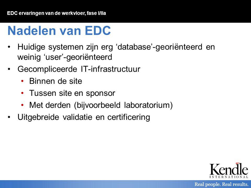 Nadelen van EDC Huidige systemen zijn erg 'database'-georiënteerd en weinig 'user'-georiënteerd. Gecompliceerde IT-infrastructuur.