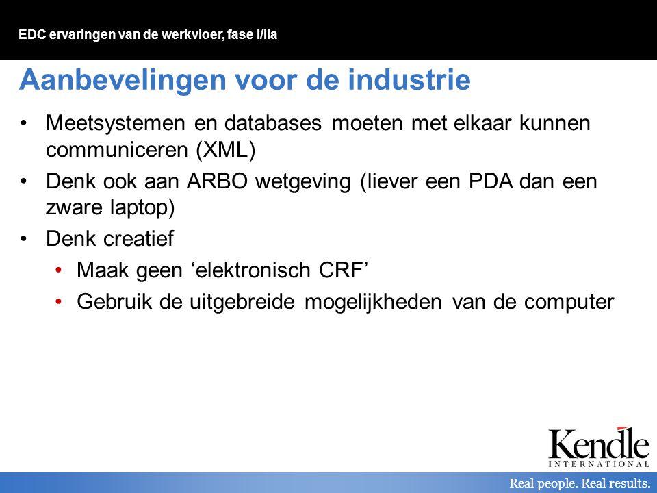 Aanbevelingen voor de industrie