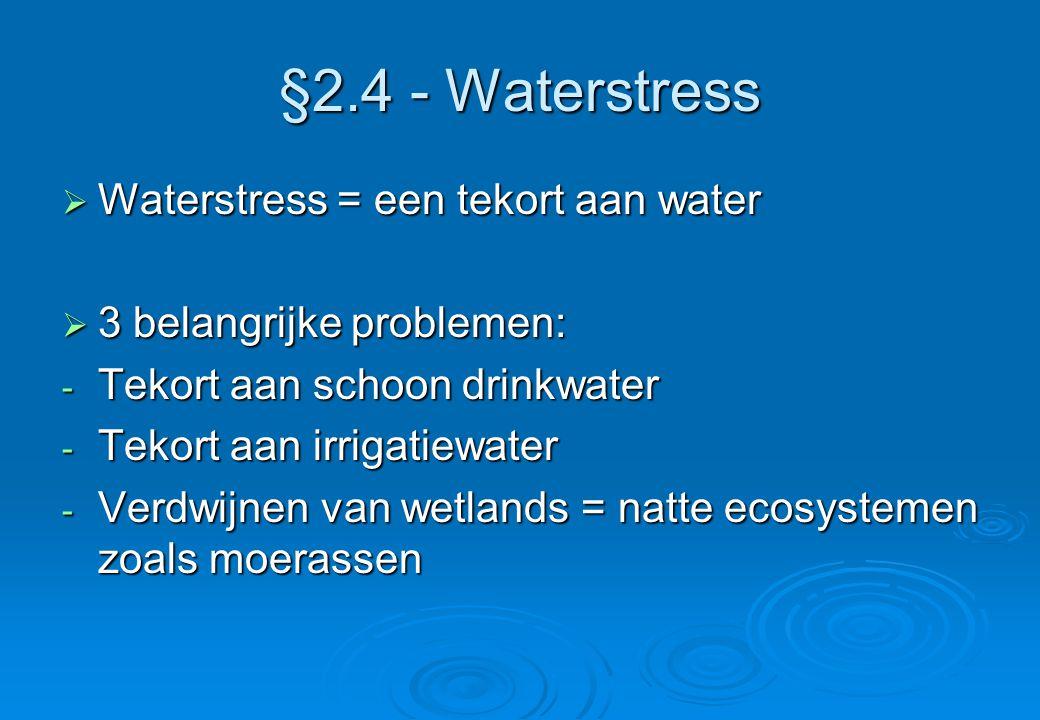 §2.4 - Waterstress Waterstress = een tekort aan water