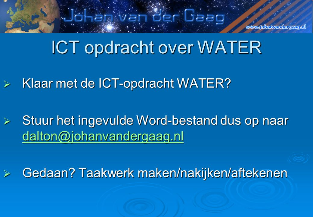ICT opdracht over WATER