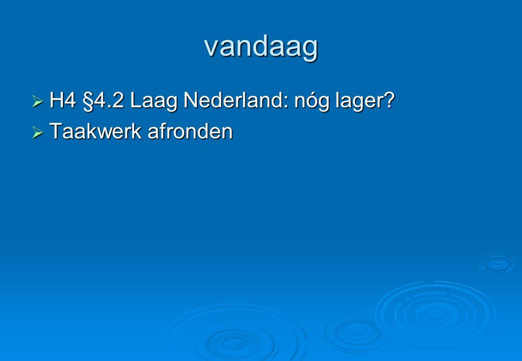 vandaag H4 §4.2 Laag Nederland: nóg lager Taakwerk afronden