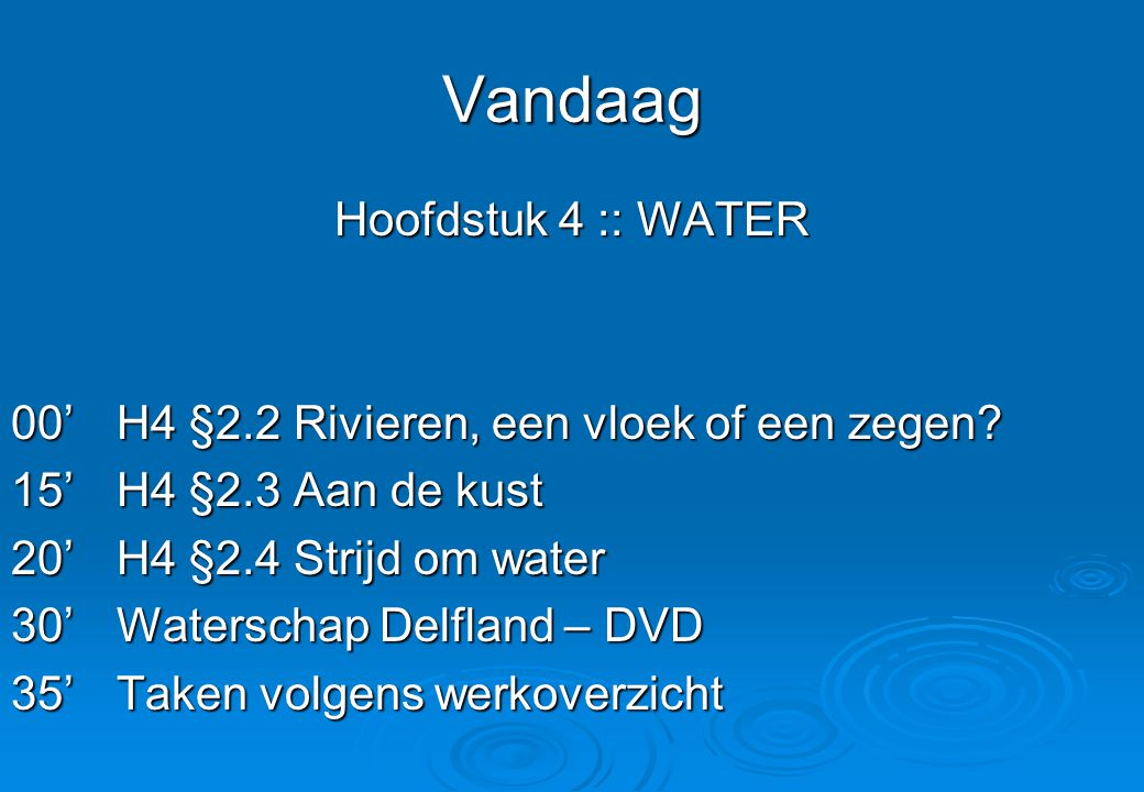 Vandaag Hoofdstuk 4 :: WATER