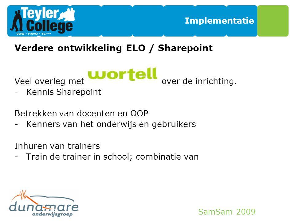 Verdere ontwikkeling ELO / Sharepoint