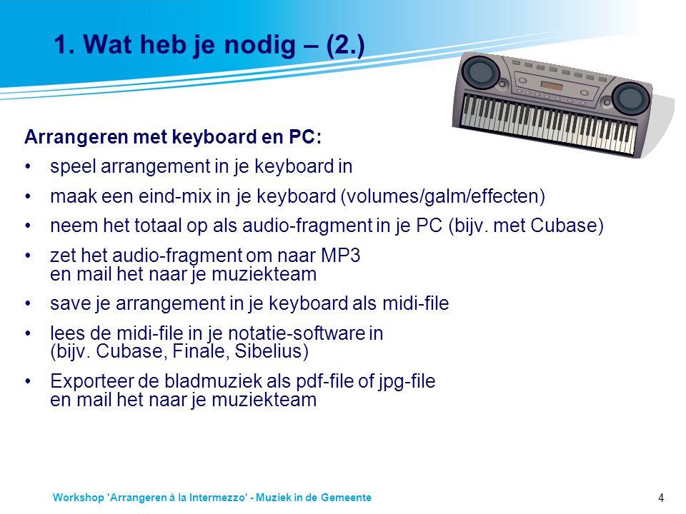 1. Wat heb je nodig – (2.) Arrangeren met keyboard en PC:
