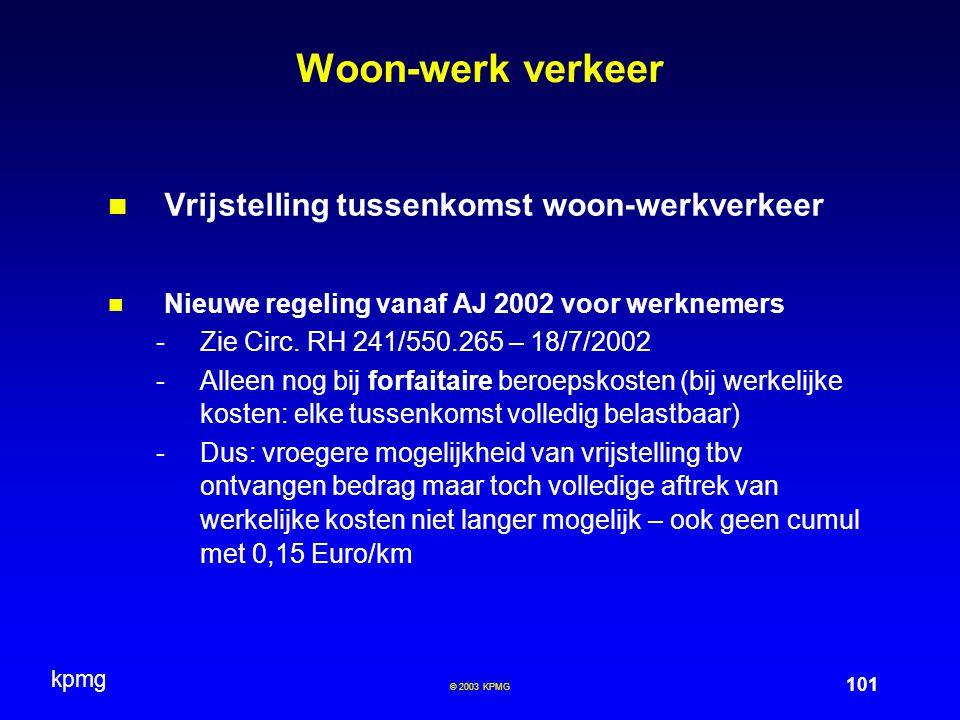 Woon-werk verkeer Vrijstelling tussenkomst woon-werkverkeer